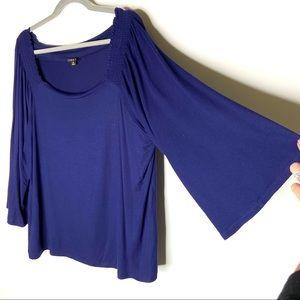 IMAN Blue Bell-Sleeve Top